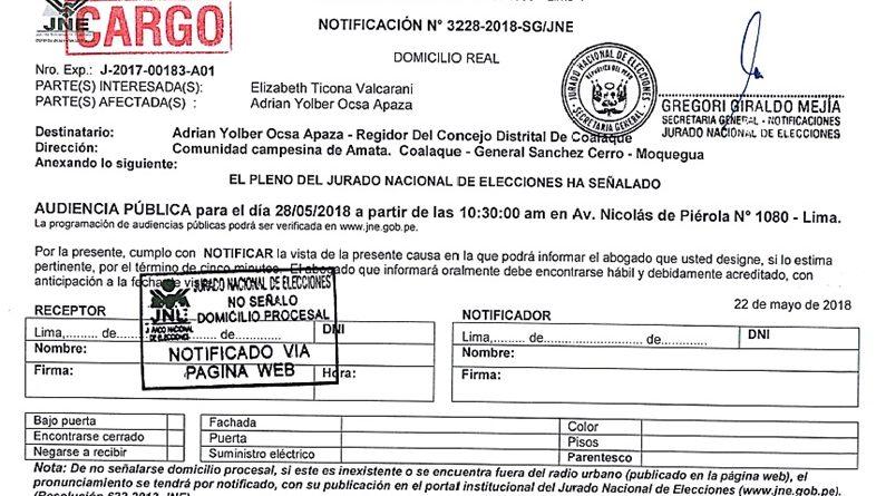 Distrito de Coalaque se apresta a celebrar Aniversario con petición de Vacancia de Alcalde y Regidor.