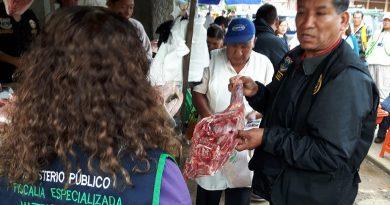 Decomisan carne de picuro y huangana en mercado de Puerto Maldonado