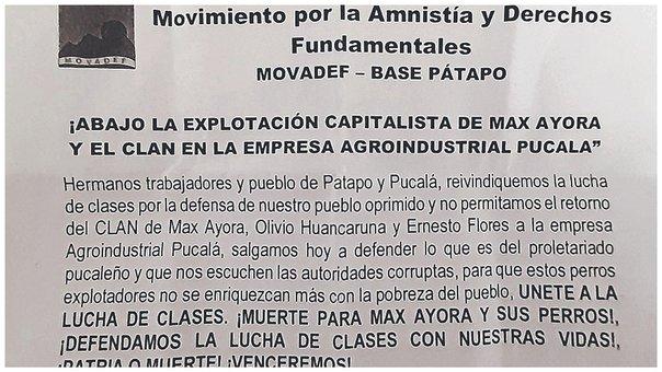 Lambayeque: Volantes del Movadef circulan en distrito de Pátapo amenazando de muerte a empresarios