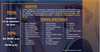 Puno: En Domingo de Carnaval parte baja de la ciudad de Puno no tendrá energía eléctrica por 8 horas.