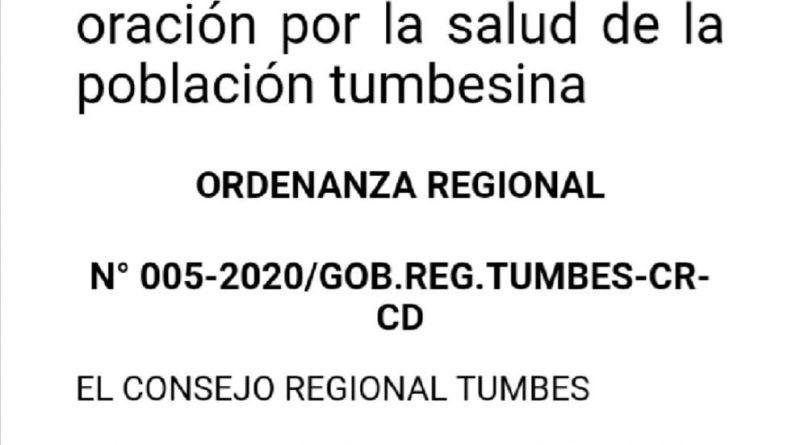 Tumbes: Consejero Regional ordena orar y ayunar para combatir el COVID-19