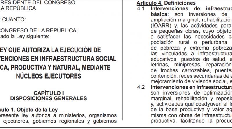Lima. Promulgan Ley de nucleos ejecutores con oposición de  Vizcarra.