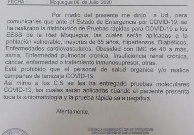 """Moquegua: Concejo municipal de Sánchez Cerro cuestiona  prohibición de realizar """"Campañas de tamizaje COVID-19"""""""