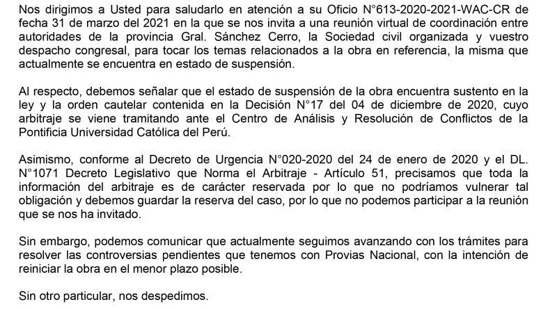 Moquegua: Consorcio Vial del Sur no acepta dialogar con autoridades y representantes de Sánchez Cerro